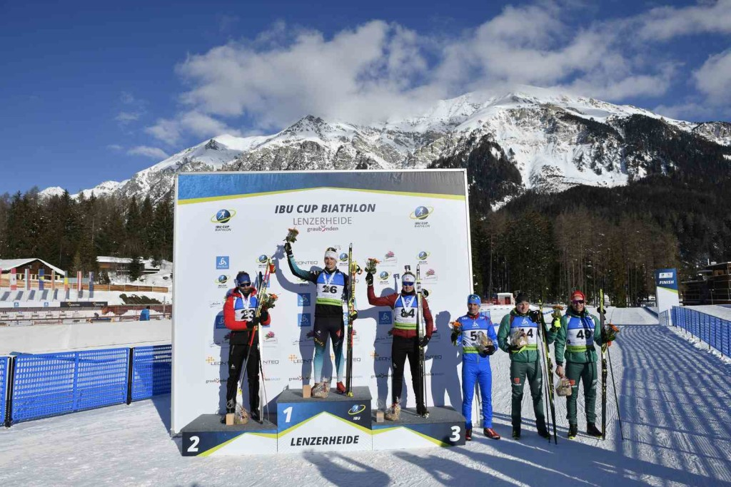 24.01.2019, Lenzerheide, Switzerland (SUI): Serafin WIESTNER (SUI-23), Fabien CLAUDE (FRA-26), Johannes DALE (NOR-84) - IBU Cup, men sprint, Lenzerheide (SUI). contact@vithiol.fr. © Vianney THIBAUT. Every downloaded picture is fee-liable.