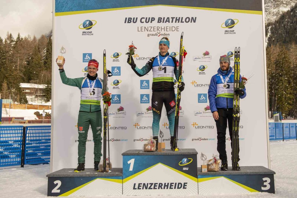 26.01.2019, Lenzerheide, Switzerland (SUI): Philipp HORN (GER-6), Fabien CLAUDE (FRA-1), Anton BABIKOV (RUS-8), (l-r) - IBU Cup, men poursuit, Lenzerheide (SUI). contact@vithiol.fr. © Vianney THIBAUT. Every downloaded picture is fee-liable.