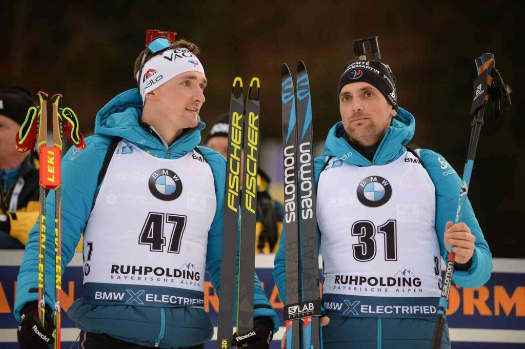 16.01.2020, Ruhpolding, Germany (GER): Fabien Claude (FRA), Simon Desthieux (FRA) - IBU world cup biathlon, sprint men, Ruhpolding (GER). www.nordicfocus.com. © Tumashov/NordicFocus. Every downloaded picture is fee-liable.