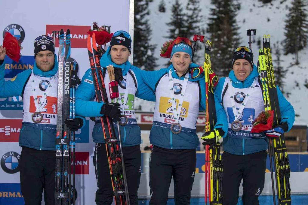15.12.2019, Hochfilzen, Austria (AUT): Antonin Guigonnat (FRA), Emilien Jacquelin (FRA), Fabien Claude (FRA), Quentin Fillon Maillet (FRA)