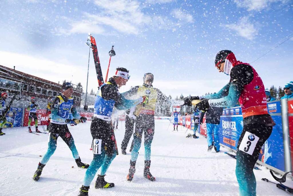 14.03.2020, Kontiolahti, Finland (FIN): Quentin Fillon Maillet (FRA), Fabien Claude (FRA), Martin Fourcade (FRA), Emilien Jacquelin (FRA), (l-r) - IBU world cup biathlon, pursuit men, Kontiolahti (FIN). www.nordicfocus.com. © Manzoni/NordicFocus. Every downloaded picture is fee-liable.